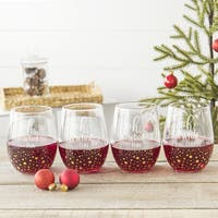 Oh What Fun 19.25 oz. Gold Dot Stemless Wine Glasses (Set of 4)