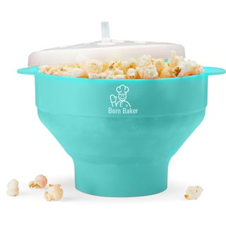 Born Baker Collapsable Silicone Microwave Popcorn Popper with Lid - Healthy Living (Option: Turquoise)