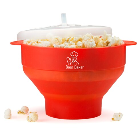 Born Baker Collapsable Silicone Microwave Popcorn Popper with Lid - Healthy Living