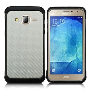 (XL) Samsung Galaxy J7 (2015) Shock Case Silver Carbon Fiber