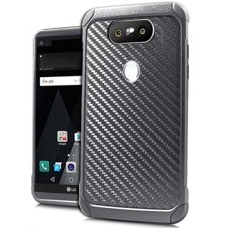 (XL) LG V20 Shock Case Black Carbon Fiber