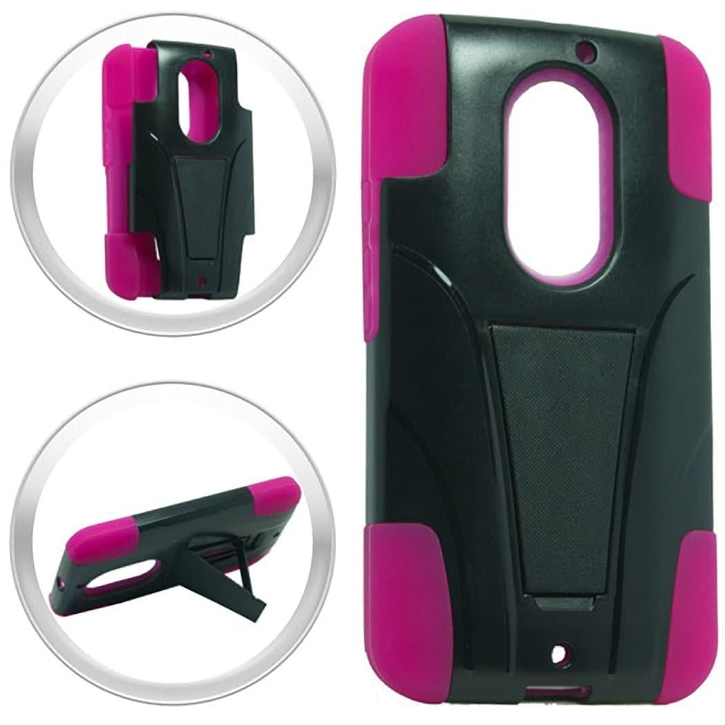 (XL) Motorola Moto X (2014) Hybrid Case w/ Stand Hot Pink...