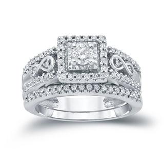 Auriya 14k 4/6ct TDW Round Diamond Cluster Bridal Ring Set