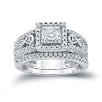 Auriya 14k 4/6ct TDW Round Diamond Halo Engagement Ring Bridal Set