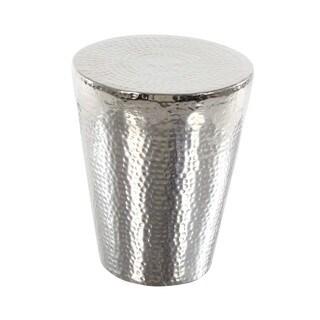 Benzara Silvertone Aluminum Footstool