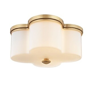 Fifth and Main Clover 2-light Aged Brass Flush Mount with Opal Glass