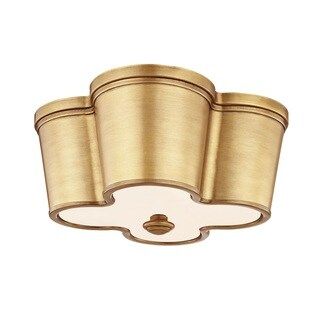 Fifth and Main Clover 2-light Framed Aged Brass Flush Mount with Frosted Glass