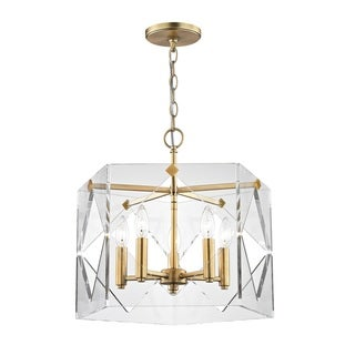 Fifth and Main Pentos 5 Light Aged Brass Pendant - Clear Acrylic
