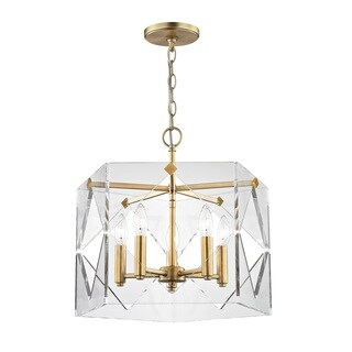 Fifth and Main Pentos 5 Light Aged Brass Pendant - Clear Acrylic - Gold