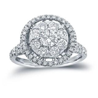 Auriya 14k Gold 1 2/5ct TDW Diamond Cluster Engagement Ring ( H-I I1-I2)
