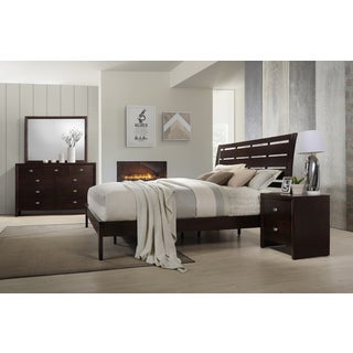 Gloria 351 Brown Cherry Finish Wood Bed Room Set, Queen Bed, Dresser, Mirror, Night Stand