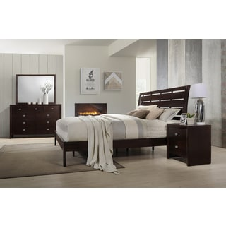 Gloria 351 Brown Cherry Finish Wood Bed Room Set, Queen Bed, Dresser, Mirror