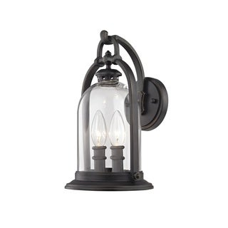 Fifth and Main North Haven 2 Light Small Outdoor English Bronze Wall Sconce, Clear Glass