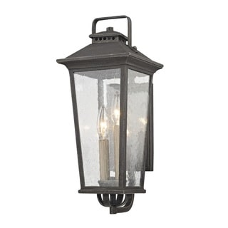 Fifth and Main Parsons Field 2 Light Small Outdoor Aged Pewter Wall Sconce - Seeded Glass