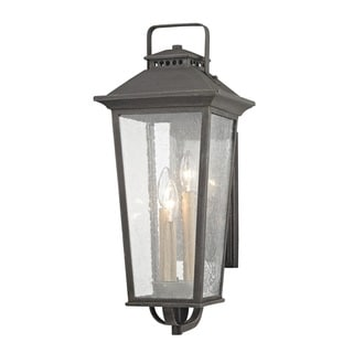 Fifth and Main Parsons Field 3 Light Medium Outdoor Aged Pewter Wall Sconce - Seeded Glass