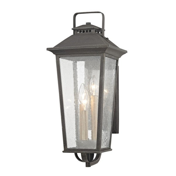 Fifth and Main Parsons Field 3 Light Medium Outdoor Aged Pewter Wall Sconce - Seeded Glass  sc 1 st  Overstock.com & Shop Fifth and Main Parsons Field 3 Light Medium Outdoor Aged Pewter ...