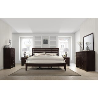 Gloria 351 Brown Cherry Finish Wood Bed Room Set, Queen Bed, Dresser, Mirror, 2 Night Stands, Chest