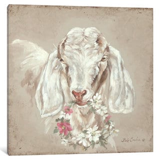 iCanvas French Farmhouse Series: Goat With Wreath by Debi Coules Canvas Print