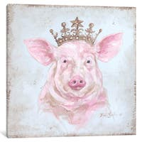 iCanvas 'French Farmhouse Series: Crowned Pig' by Debi Coules Canvas Print
