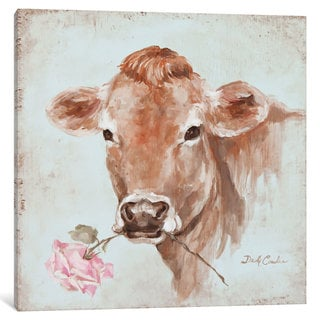 iCanvas 'French Farmhouse Series: Cow With Rose' by Debi Coules Canvas Print