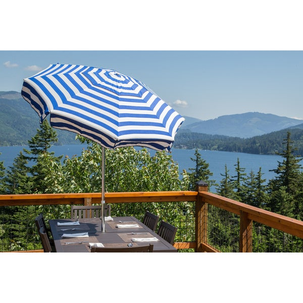 DestinationGear Italian 7.5 Ft Blue And White Patio Umbrella