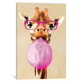 iCanvas 'Clever Giraffe With Bubblegum' by Coco de Paris Canvas Print