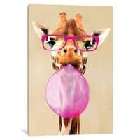 iCanvas 'Clever Giraffe With Bubblegum' by Coco de Paris Canvas Print