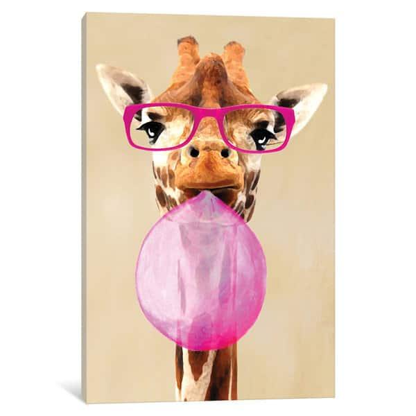 Giraffe Bubblegum Pink Background  Canvas Wall Art Picture Print