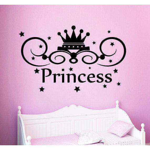 Princess Crown Vinyl Sticker Fairy Tale Magic Stars Art Kids Nursery Baby Room Decor Decal 22 X 30 Color Black On Sale Overstock 15435208