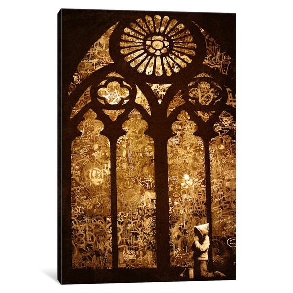 iCanvas 'Rustic Stained Glass Window' by Banksy Canvas Print