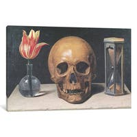 iCanvas Vanitas Still Life With A Tulip, Skull And Hour-Glass by Philippe de Champaigne Canvas Print
