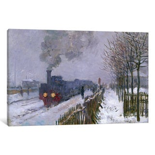 iCanvas 'Train in the Snow or The Locomotive, 1875 ' by Claude Monet Canvas Print