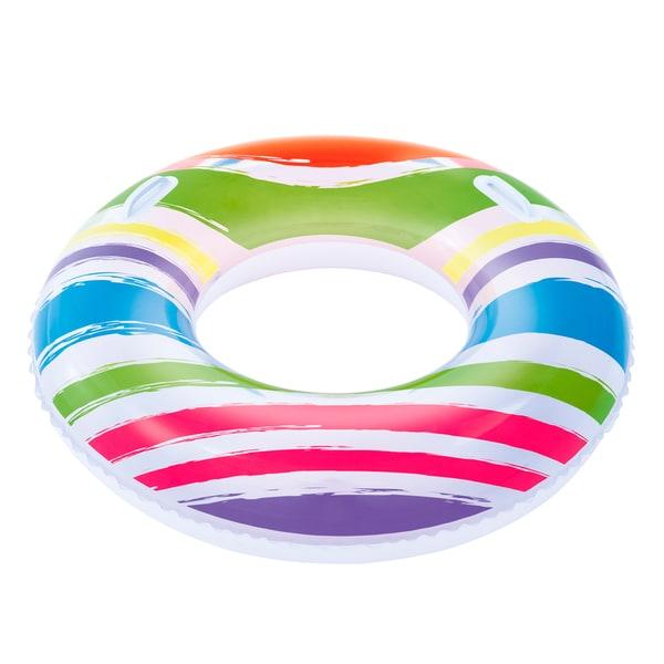 36 Inch Orange, Red, Blue and Purple Striped Swim Tube