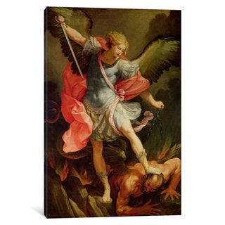 iCanvas 'The Archangel Michael defeating Satan ' by Guido Reni Canvas Print