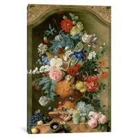 iCanvas 'Flowers in a Terracotta Vase, 1736 ' by Jan van Huysum Canvas Print