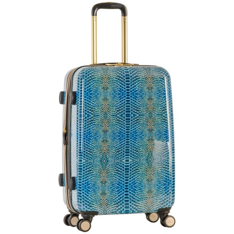 Aimee Kestenberg 'Ivy' 24-inch Lightweight Hardside Expandable 8-wheel Spinner Checked Suitcase with Gold Plated Hardware