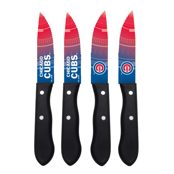 Chicago Cubs MLB 4 Pc Stainless Steak Knife Set