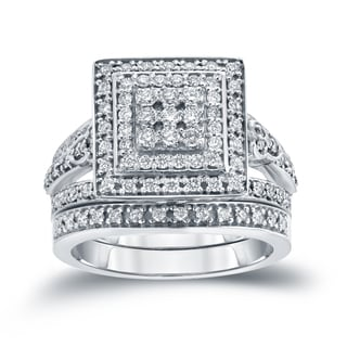 Auriya 14k 3/5ct TDW Round Diamond Cluster Bridal Ring Set ( H-I I1-I2)