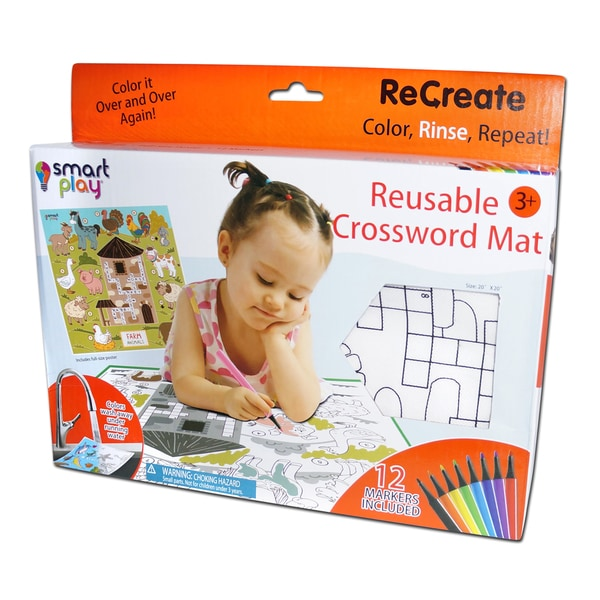 At the Farm ReCreate Lg Coloring Crossword Puzzle Mat