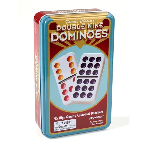 Pressman Double Nine Color Dot Dominoes in Tin