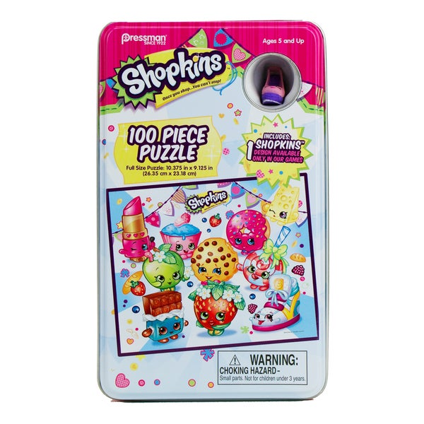 Pressman Shopkins 100 Pc Puzzle in Collectible Tin