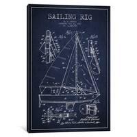 iCanvas 'Sailboat Navy Blue Patent Blueprint' by Aged Pixel Canvas Print
