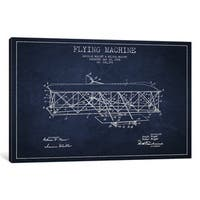 iCanvas 'Airplane Navy Blue Patent Blueprint' by Aged Pixel Canvas Print