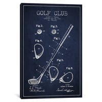 iCanvas Golf Club Navy Blue Patent Blueprint by Aged Pixel Canvas Print