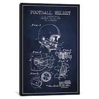 iCanvas 'Football Helmet Navy Blue Patent Blueprint' by Aged Pixel Canvas Print