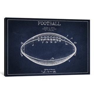 iCanvas Football Navy Blue Patent Blueprint by Aged Pixel Canvas Print