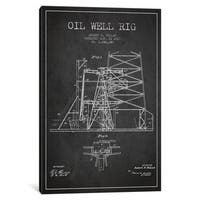 iCanvas 'Oil Well Rig 1 Charcoal Patent Blueprint' by Aged Pixel Canvas Print