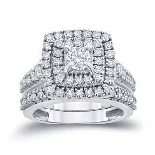 Auriya 14k 1 3/5ct TDW Round Diamond Cluster Bridal Ring Set ( H-I I1-I2)