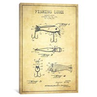 iCanvas Fishing Tackle Vintage Patent Blueprint by Aged Pixel Canvas Print
