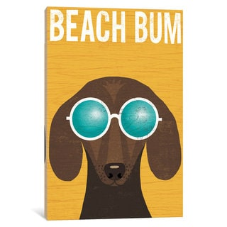 iCanvas 'Beach Bums Series: Dachshund II' by Michael Mullan Canvas Print